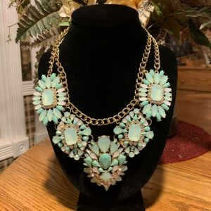 3D Aqua Gold & Rhinestone Statement Necklace